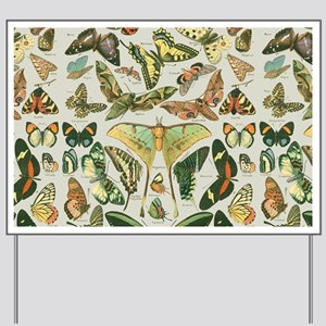 Butterfly pattern Vintage Papillon Yard Sign