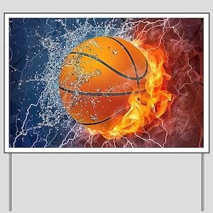 Flaming Basketball Ball Splash Yard Sign