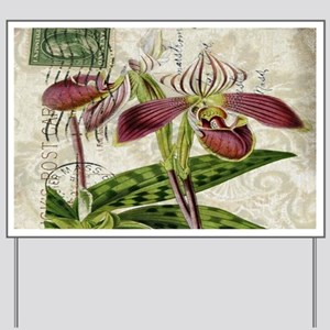vintage orchid french botanical Yard Sign