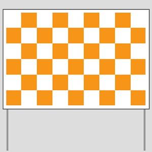 ORANGE AND WHITE Checkered Pattern Yard Sign