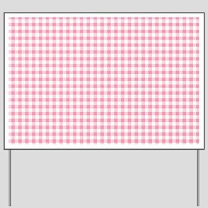 Pink Gingham Pattern Yard Sign