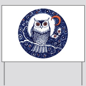 Blue Owl with Moon and Moth Yard Sign