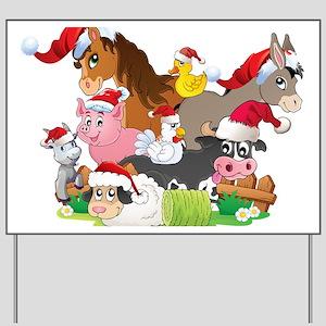 CUTE Farm Animal Christmas Yard Sign