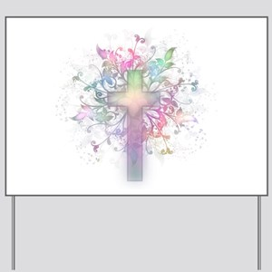 Pastel Floral Cross Yard Sign