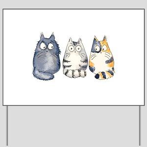 Three 3 Cats Yard Sign