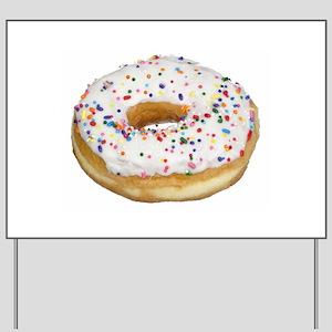 white rainbow sprinkles donut photo Yard Sign