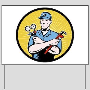 ac serviceman repairman Yard Sign