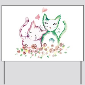 Cats In Love Watercolor Yard Sign