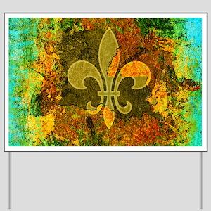 Louisiana Rustic Fleur de lis Yard Sign