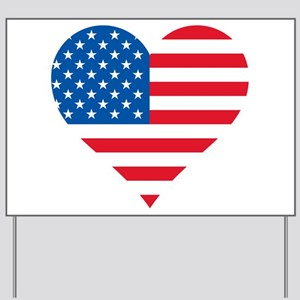 American Flag Heart Yard Sign