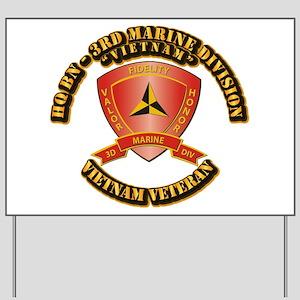 USMC - HQ Bn - 3rd Marine Division VN Yard Sign