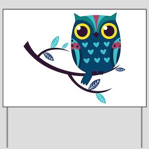 Dark Teal Owl Yard Sign