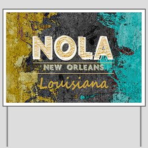 NOLA New Orleans Black Gold Turquoise Gr Yard Sign