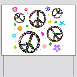 Peace symbols and flowers pat Yard Sign