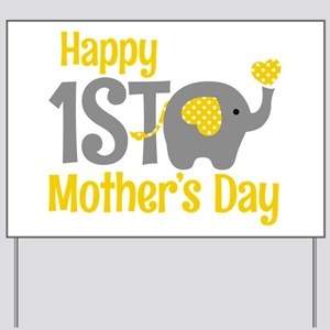 1st Mother's Day Elephant Yellow Yard Sign