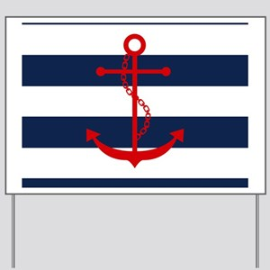 Red Anchor on Blue Stripes Yard Sign