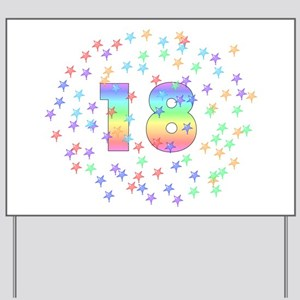 18th Birthday Pastel Stars Yard Sign