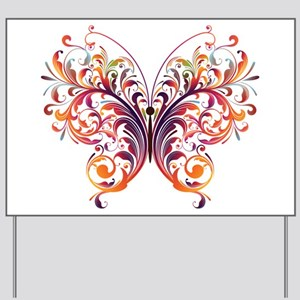 Scroll Butterfly Yard Sign