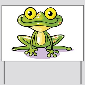 Cute Green Frog Yard Sign