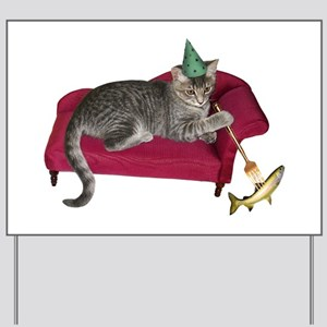 Cat on Couch Yard Sign