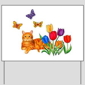 Orange Cat In Tulips Yard Sign