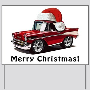 BabyAmericanMuscleCar_57BelR_Xmas_Red Yard Sign
