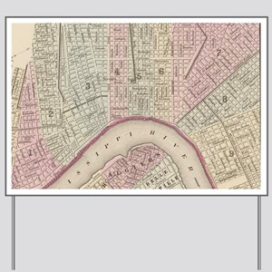 Vintage Map of New Orleans (1880) Yard Sign