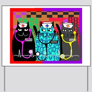nurse cat blanket Yard Sign