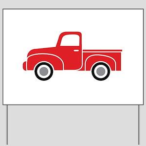 Vintage Red Truck Yard Sign