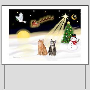 Night Flight - Two Tabby cats (orange ad Yard Sign