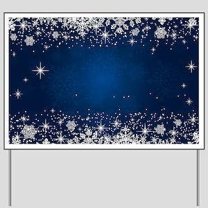 Decorative Blue Winter Christmas Snowfla Yard Sign