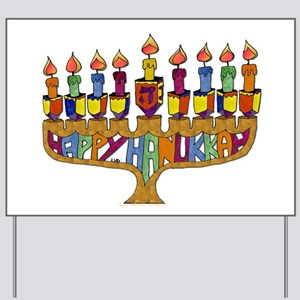 Happy Hanukkah Dreidel Menorah Yard Sign