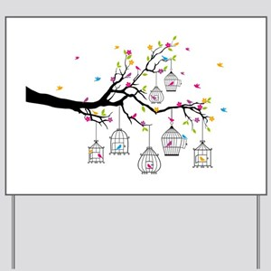 tree branch with birds and birdcages Yard Sign