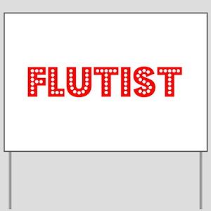 Retro Flutist (Red) Yard Sign