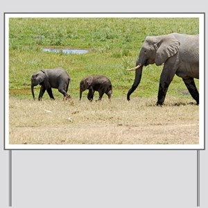 Elephant family Yard Sign