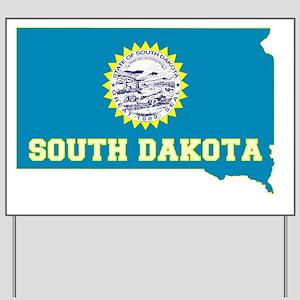 South Dakota State Flag and Map Yard Sign