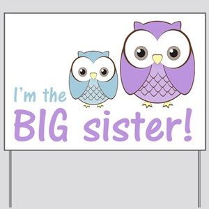 owlbigsispurpleblue Yard Sign