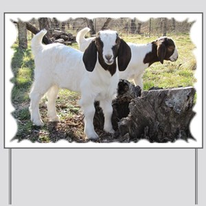 Twin Goats In The Woods Yard Sign