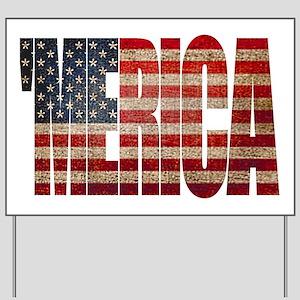 Vintage MERICA U.S. Flag Yard Sign