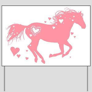 Pink Galloping Heart Horse Yard Sign