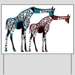 Abstract Giraffe Yard Sign