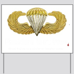 Gold Airborne Wings Yard Sign