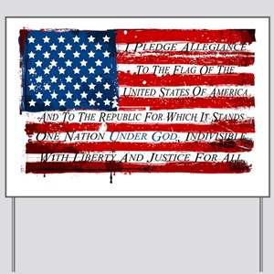 Patriotic Pledge of Allegiance USA Flag Yard Sign