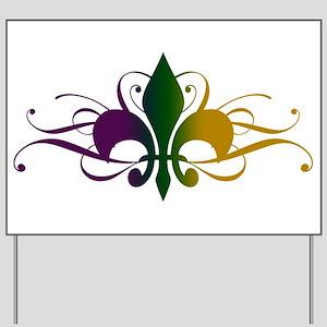 Purple Green Yellow Swirl Fleur De Lis Yard Sign