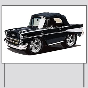 BabyAmericanMuscleCar_57BelR_Black Yard Sign
