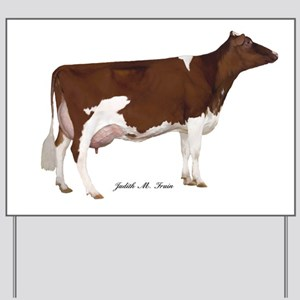 Red and White Holstein Cow Yard Sign