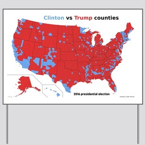 Trump vs Clinton Map Yard Sign