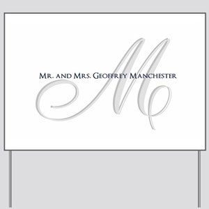 Elegant Name and Monogram Yard Sign