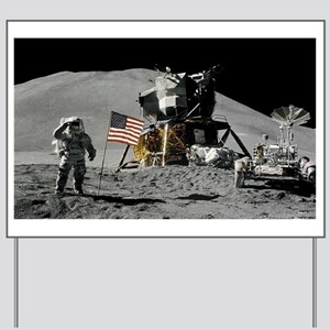 Apollo Moon Flag Salute USA Yard Sign