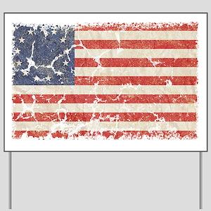 13 Colonies US Flag Distresse Yard Sign